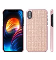 Wholesale Pearl Plastic Material - Luxury Bling Glitter Round Diamond Material PC Cover Crystal Pearl Rhinestone Case paint color For IPhone X 8 7 6s 6 Samsung S8 Plus OPP BAG