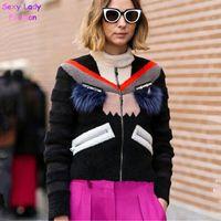 Wholesale Stylish Women S Coats - Stylish Monster Beading Real Raccoon Fur Eye Eyelash Patchwork Faux Wool Fur Thin Parka Coat Winter Luxury Lady Jacket Outwear
