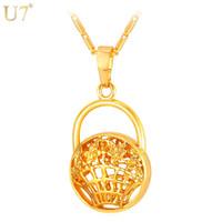 korb halskette schmuck großhandel-einzigartige neue einzigartige Design Lady Bag Form Anhänger für Frauen Großhandel 18 Karat reales Gold überzogene trendy Körbe Halskette Marke Schmuck P832
