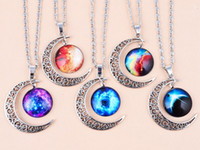 Wholesale Universe Factory - 2016 Summer Factory direct New Vintage starry Moon Outer space Universe Gemstone Pendant Necklaces clavicle Pendant best gift Free shipping