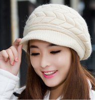 Wholesale New women autumn and winter rabbit fur hats knitting fashion designer ear warm wool caps Christmas Gifts MZ