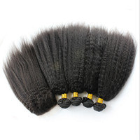 Wholesale best kinky straight hair weave resale online - Best Selling Kinky Straight Hair Bundles With Lace Closure x4 Coarse Yaki Top Lace Closure With Hair Extensions For Black Woman