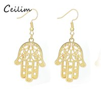 Wholesale fatima hand earring online - High Quality Gold Silver Plating Alloy Steampunk Stud Earring New Fashion Women Jewelry Fatima Hamsa Hand Pendant Charms Dangle Earring