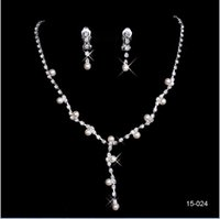 Wholesale Cheap Silver Necklace Sets - 2016 New Jewelry Necklace Earring Set Cheap Wedding Bridal Prom Cocktail Evening Dresses Rhinestone 15024 In Stock Free Shipping