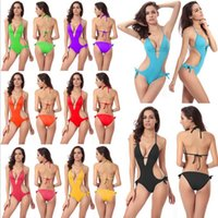 Wholesale Tied Up Bikini - Hot One piece Monokini swimsuit Wholesale Push up Foam Cup Ties at Back and Neck Bandage Swimwear