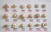 Wholesale Embellishments Mixed - Free Shipping Wholesale 40pcs lot Mix Designs Flatback Rhinestone Button For Hair Flower Wedding Embellishment LSRB0817