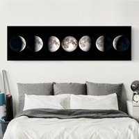 Wholesale Moon Canvas Wall Art - 30*100Cm Bedroom Wall Decoration Modern Simplicity Unframed Paintings Banner Wall Paints Moon Wall Art Paintings