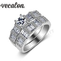Wholesale wedding gold ring design for women resale online - Vecalon Brand Design Princess cut ct Cz Simulated diamond KT White Gold Filled Engagement Wedding Ring Set for Women Sz