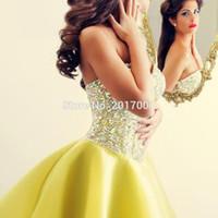 Wholesale China Sale Summer Dresses - 2016 Prom Dresses Yellow Crystal Sleeveless Sweetheart Beaded Chiffon Evening Sexy Abaya Vestido De Festa China Hot Sale