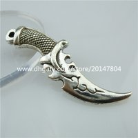 Wholesale Silver Knife Necklace - 13579 5PCS Vintage Silver Tone Alloy Campilan Tulwar Knife Tool Pendant Charms Jewelry Findings For Men Necklace
