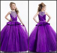 vestidos de niña de flores púrpura con cuentas al por mayor-2016 Rachel Allan Purple Ball Princesa Girls Pageant Vestidos Brillantes con cuentas Cristales Flower Girls Vestidos Tamaño 12