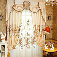 Wholesale Chenille Cloth - Pastoral Chenille Embroidered Curtain Living Room Bedroom Curtains Beautiful Flower Embroidery Window Drapes Wholesale Per Meter #Cloth