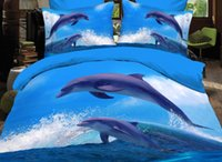 Wholesale Dolphin King - In Stock Cheap Flat Cute Dolphin Sky Blue Painting Bridal Accessories Twin Full Queen King Free Shipping Bedding Article