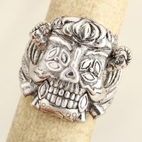 Wholesale Lucky Stainless Steel Ring - Drop Ship movie jewelry Punk Ring The Expendables lucky rings men Stainless Steel Rings For Man Big Tripple Skull Ring Punk Biker Jewelry