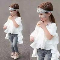 Wholesale Runway Clothing Wholesaler - INS Korean Baby Girls Ruffle Runway Dresses Kids Girl Cotton Flare Sleeve Dress Girl Princess Half Sleeve Dress 2016 Babies Spring Clothes