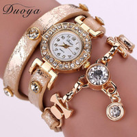 Wholesale Wristwatches Chain - Duoya Women Watches Brand Gemstone New Luxury Bracelet Watches Dress Women Dress Fashion Long Chain Casual Wristwatch XR1068