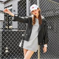 Wholesale Cheap Winter Leather Jackets - 2016 Fashion Black PU Leather Coat Women Winter Jacket Casaco Feminino Jacket Long Coats Punk Style Overcoats Cheap FS0869