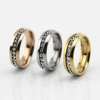 Wholesale Men Diamond 14k Gold Rings - Personalized Fashion Single Row Diamond Ring Top Men Women Stainless Steel Wedding Ring Gold Plated Full Diamond Ring Wholesale