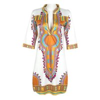 Wholesale Traditional Design Dresses - Newly Design Women Summer Casual Deep V-Neck Traditional African Dashiki Print Knee Dress