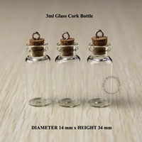 Wholesale Bottle Glass Pendant Cork - 3ml Mini small glass bottles vials jars with corks decorative corked glass test tube bottle with cork for pendants mini 50pcs