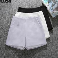 bacak stili şort toptan satış-Yaz Tarzı Moda Rahat Yüksek Bel Şort Siyah Gri Beyaz Rahat Bağbozumu Kadın Kısa Sml XL Geniş Bacak Şort