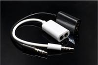 enchufe gratis para auriculares al por mayor-Alta quanlity 3.5mm Pareja Línea Auriculares Cables de Audio Splitter Doble Enchufe Uso Cable Auriculares Parejas cable de audio envío gratis