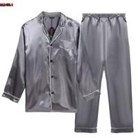 Wholesale Plus Satin Pajamas - Wholesale-Plus Size Bathrobe Pajamas Set Long Sleeve Turn Down Collar Mens Satin Pajama Single-Breasted Sexy Sleepwear Pajamas For Men R15