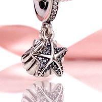 Wholesale Pandora Shell Charms - Summer DIY Jewellery 925 Silver Beads Tropical Starfish & Sea Shell Pendant Charm Fits European Pandora Jewelry Bracelets Necklace 792076CZF