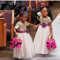 Wholesale Cheap Toddler Girls Skirts - 2016 Gold Sequins Cheap Flower Girls Dresses For Weddings Tulle Ankle Length Skirts Girls Pageant Dresses Short Sleeves Hand Made Flowers
