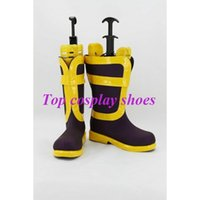 Wholesale Fairy Costume Shoes - Wholesale-Freeshipping custom-made anime Fairy Tail Natsu Dragneel Purple & Yellow Cosplay Boots shoes for Halloween Christmas festival