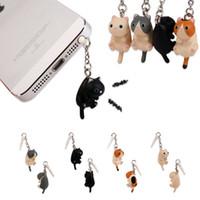 sevimli güzel siyah kedi toptan satış-Toptan-1 adet 3D güzel Kedi Tak ipad 3.5mm fiş Black Cat Cute Anime 2016 için kulak telefon jakı aksesuarı