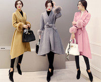 ingrosso più le gonne di inverno lunghe di formato-Elegante donna coreana maniche di pelliccia Slim lungo cappotti di lana Plus Size Cardigan Asimmetrico Soprabito di lana Gonne misto lana Inverno Outwear S-3XL