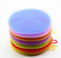 almohadillas de tazón al por mayor-8 colores Magic Silicone Dish Bowl cepillos de limpieza estropajo olla pan cepillos de lavado limpiador cocina