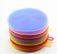 bulaşık deterjanı toptan satış-8 renkler Sihirli Silikon Çanak Kase Temizleme Fırçaları Ovma Pedi Pot Pan Yıkama Fırçalar Temizleyici Mutfak