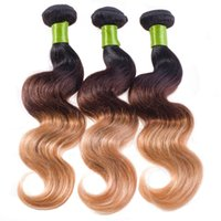 Wholesale Very Cheap Hair Extensions - Brazilian Hair Body Wave Three Tone Weave Double Weft 3pcs 4pcs Lot Can Stain Cheap Hair Extensions Very Thick End No Tangle