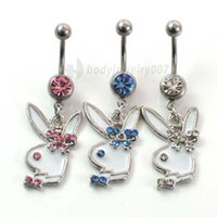 Wholesale playboy fashion - D0257 ( 3 colors ) rabbit Belly Button Navel Rings Body Piercing Jewelry Dangle Accessories Fashion Charm Playboys CZ Stone