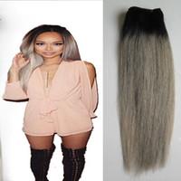 gri dokuma saç toptan satış-Ombre Brezilyalı Düz Saç ombre gri saç örgü 100g 1 ADET T1B / Gri Olmayan Remy gri saç örgü