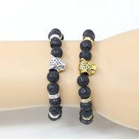 pulseiras de ouro buda venda por atacado-Contas de rocha de lava Pulseira Nova Moda Barato Jóias Banhado A Ouro Cabeça de Leão ou Cabeça de Leopardo Pulseiras Preto Pedra de Lava Contas de Buda Pulseiras