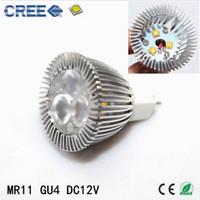 Wholesale Gu4 Led Lamp - Mini LED Spotlight bulb MR11 DC12V 3w CREE LED Spot Lamp GU4 35mm Candle Bulb Light for business lighting diameter