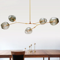 Wholesale House Pipes - Nordic personalized DNA molecular glass pendant lamp post modern minimalist Guest House chandelier Villa bubble ball Pendant light