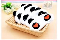 Wholesale Korean Sleep Eye - Comfortable soft velvet shading sleep mask Korean Cute Panda eye shields cartoon eyeshade