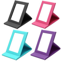 Wholesale Leather Folding Mirror - Tabletop Vanity Makeup Mirror Portable Folding Mirrors With PU Leather Standing Case Colorful Cosmetics Multi-used Tool Large