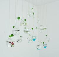ваза с воздушной заправкой оптовых-Свет лампы форме сердца 18 стилей стекла висит террариум / лампа вазы, воздушный завод сочный террариум для домашнего декора, зеленые подарки, включая веревку