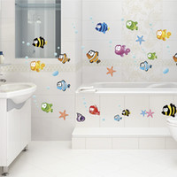 Barato Decalque De Peixe De Vidro-DIY Decoração Home Underwater World Vários peixes do oceano Nursery Wall Sticker Wallpaper Art Decor Mural Waterproof Banheiro porta de vidro do decalque