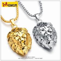 Wholesale Lion Pendant For Men - Hot Hip Hop Jewelry Big Lion Head Pendant Gold Color Figaro Chain For Men Kpop Statement Necklace Collier Wholesale gold chains for men