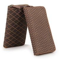 Wholesale Rhombus Purse - 100% Genuine Leather Vintage Rhombus Pattern Zipper Wallet Purse 8127