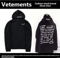 Wholesale Women S Corduroy Shirts - Vetements High Street Men And Women Loose Hooded Sweater Fashion Retro Hoodies Sweatshirts Hip-hop Jogging Long-sleeved T-shirt