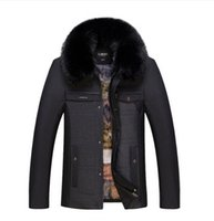 Wholesale Middle Age Men Jacket - Fall-Free shipping 2016 the new Middle-aged men and thick winter coat fur collar jacket coat large size middle-aged   L-4XL