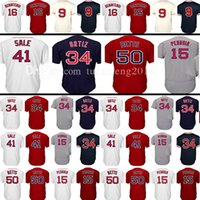 Wholesale St 15 - Men's 34 50 Mookie Betts Baseball Jersey 16 Andrew Benintendi 15 Dustin Pedroia 9 Ted Williams Retro Jerseys Embroidery 100% St