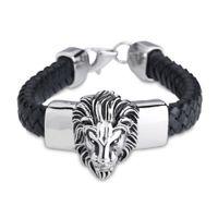 Wholesale Stainless Steel Cowboy Bracelet - New Arrival Black Geniune Leather Bracelet&Bangle for Male Wide Big Lion Head Stainless Steel Bracelet Men Cowboy Accossery Fashion Jewelry